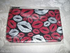 MAYBELLINE  makeup/cosmetic bag with red & white lips