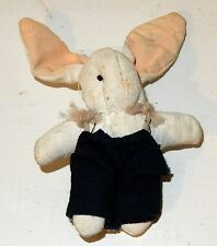 "Adorable Vintage Hand Made 4.5"" Miniature Cloth Bunny Rabbit"
