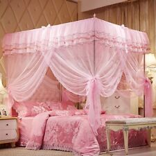Princess Lace Bed Canopy Mosquito Net Poster Ruffles Pink Girls 4 Corner Twin