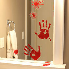 Red Hand Print Bloody Splatter Marks Window Clings Halloween Decorations House