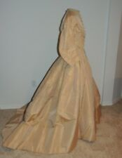 Civil War Era Victorian ca 1860's Tan Silk 2PC Dress w Train SM