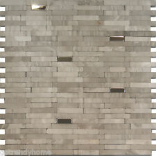1SF-Stainless Steel Insert Gray Marble Stone Mosaic Tile Backsplash Kitchen Wall