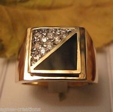 AGNES CREATIONS / BAGUE HOMME CHEVALIERE  PL/OR ONYX  & ZIRCONIUM  cz