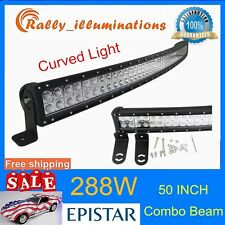 50inch LED Work Light Bar 288W Curved Truck Offroad ATV SUV Boat Driving Jeep 52