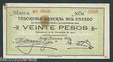 F.C. MEJICO MEXICO , 20 PESOS 1913 , B/C ( FINE ) , ROTURAS Y MANCHAS , S556a
