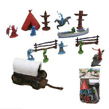 Western Adventure 12 Piece Play Set Indians Cowboys Covered Wagon More Mint Bag