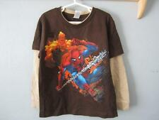 NEW MARVEL COMICS THE AMAZING SPIDERMAN KIDS M MEDIUM BROWN SHIRT 68NG