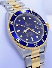 Rolex Submariner 16613 Two Tone 18K Yellow Gold /Steel Blue Bezel Watch *MINT*