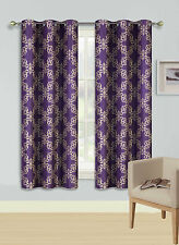 2 GROMMET PRINTED PANEL 2 TONE FOAM LINED BLACKOUT WINDOW CURTAIN RETA PURPLE 63