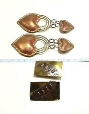 ESTATE VINTAGE LOT BATCH OF 2 PAIRS HANDCRAFTED MODERNIST METAL WORK EARRINGS