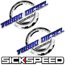 2 PC BLUE/CHROME TURBO DIESEL ENGINE MOTOR BADGE FOR TRUNK HOOD DOOR TAILGATE C
