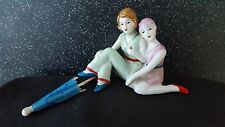 """SWEET LITTLE ART DECO 1920's STYLE """"YOUNG SISTERS""""  FIGURINE ~ PIN CUSHION DOLL"""