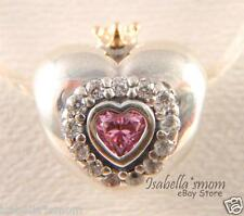 PRINCESS HEART Authentic PANDORA Silver/14K GOLD CROWN/Pink CZ Charm/Bead NEW