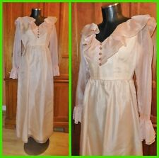 Vtg 70s Lorrie Deb Organza Ruffle Boho Wedding Holiday Party MAXI DRESS GOWN