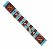 WEST HAM UNITED 'THE HAMMERS' CLARET BLUE BAR SCARF - BRAND NEW
