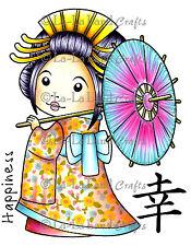 KIMONO MARCI WITH UMBRELLA-La-La Land Crafts Cling Rubber Stamp-Stamping-Geisha