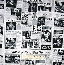 Halloween Fabric - Zombie Date Newspaper Collage Beige - Timeless Treasures YARD