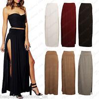 Ladies Women's Fold Over High Waist Double Front Split Full Length Maxi Skirt