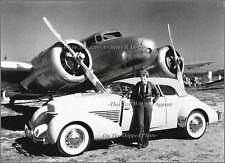 Photo: Amelia Earhart W/ Her Lockheed Electra & Cord Convertible Coupe, 1936