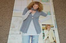 Sirdar Sweater Knitting Pattern 9073 Click Aran Cabled Cardigan 24-46""