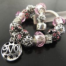 A415 GENUINE REAL 925 STERLING SILVER S/F PINK SAPPHIRE CHARM BRACELET BANGLE