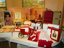 Large American girl Doll Samantha lot Retired original boxes Brass bed wood desk