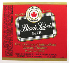 G Heileman Brg CARLING CANADA BLACK LABEL BEER label WI 12oz  #5576
