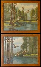 Vintage Lot of 2 Mid Century Paint by Number Paintings Mallard Ducks & River PBN