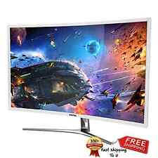 White Curved LED Computer Monitor 32 Inch Speakers Full HD Curvature Game Movie