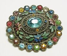 Little Nemo Brooch in Pastels Metal Pin with Multicolor Gem Decorations