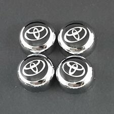 Set of 4 Chrome bolt cover + Toyota decal License Plate Frame Screw Cap car