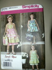 Simplicity Pattern 2171 Little Girl Dresses, Top, Pants sundresses sizes 3 to 8