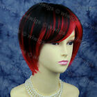New Lovely Short Cosplay RED Mix BLACK Ladies Wigs skin top hair from WIWIGS UK