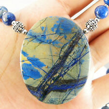 ONLY FROM US~ NATURAL LIGHTENING AZURITE PENDANT BLUE LAPIS BEADS Necklace