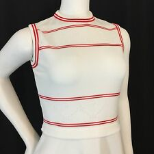 Preppy VTG 70s Red & White Stripe Sleeveless Cropped Sweater Dress A Line Sz 10