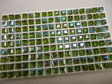 24 swarovski vintage cube shaped crystal beads,6mm olivine AB #5601