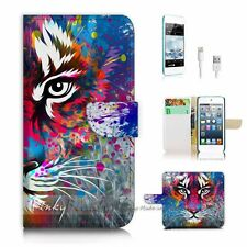 iPod Touch 6 iTouch 6 Flip Wallet Case Cover P3076 Tiger