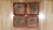 "4 MONKEY POD PLATES 8"" SQUARE HAND CRAFTED & PAINTED IN PHILIPPINES ASPARAGUS"