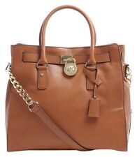 Michael Kors Hamilton Large North South NS Leather Tote (Luggage/Gold)