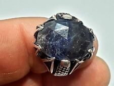 Turkish Vintage Natural Sapphire Gemstone 925 Sterling Silver Men Ring