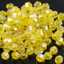 Yellow AB 100pcs exquisite 4MM 5301#glitter Crystals luster delicateness Bicone!