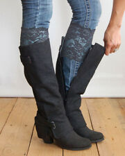 Stretch Lace Boot Cuffs Leg Warmers Gray Trim Toppers Socks