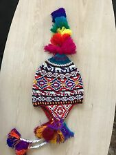 PERUVIAN CHULLO HAT WITH BEADS MULTICOLOURED RAVE FESTIVAL BEENIE HAND MADE ^1