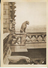 POST CARD OF GARGOYLES ON A BUILDING GUARDED AGAINST EVIL SPIRITS & REMOVED RAIN