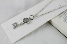 ELEGANT LADIES  ADJUSTABLE TIBETAN SILVER RELIGIOUS KEY PENDANT NECKLACE,