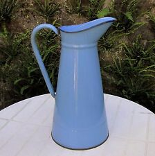 VINTAGE FRENCH LARGE BLUE GRANITEWARE PITCHER WATERTIGHT ANTIQUE ENAMEL JUG