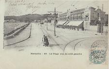 MARSEILLE 89 la plage vue du côté gauche photo lacour timbrée 1904