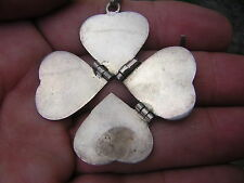 UNUSUAL VINTAGE HEART STERLING SILVER PHOTO LOCKET TRANSFORMS INTO 4 LEAF CLOVER