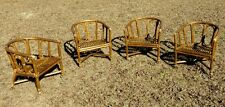 Set Of 4 McGuire Rattan/ bamboo Arm Chairs With Wheels