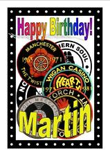 Personalised Northern Soul Birthday Card (Patches) - Gloss Finish - Name - New